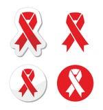 Nastro rosso - AIDS, HIV, malattia di cuore, segno di awereness del colpo Fotografie Stock