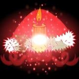 Nastro rosso con il Natale fondo ed il vettore della cartolina d'auguri Illustrazione Vettoriale