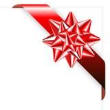Nastro rosso con l'arco Fotografie Stock Libere da Diritti