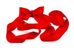 Nastro rosso con l'arco Fotografia Stock Libera da Diritti