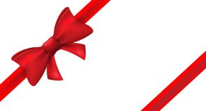 Nastro rosso con l'arco rosso Decorazione dell'arco isolata vettore per il presente di festa Elemento del regalo per progettazion illustrazione di stock
