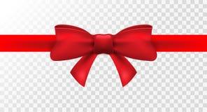 Nastro rosso con l'arco rosso Decorazione dell'arco isolata vettore per il presente di festa Elemento del regalo per progettazion illustrazione vettoriale