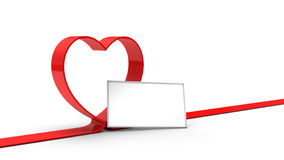 Nastro rosso del cuore Immagine Stock