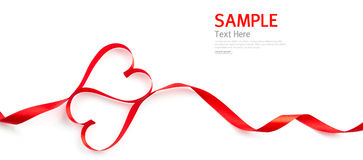 Nastro rosso del cuore isolato Fotografia Stock