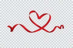 Nastro rosso del cuore isolato su fondo, su arte di vettore e sull'illustrazione trasparenti royalty illustrazione gratis