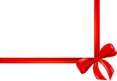 Nastro rosso del regalo, arco, involucro Fotografia Stock