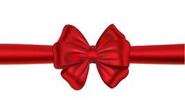 Nastro rosso del regalo con l'arco Fotografia Stock
