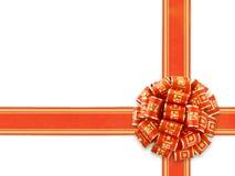 Nastro rosso del regalo sopra bianco Fotografie Stock Libere da Diritti
