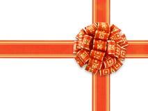 Nastro rosso del regalo sopra bianco Fotografia Stock Libera da Diritti