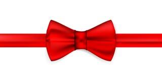 Nastro rosso di seta con un arco Fotografie Stock