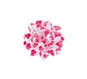 Nastro rosso e bianco del biglietto di S. Valentino dell'arco Fotografia Stock Libera da Diritti