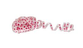 Nastro rosso e bianco del biglietto di S. Valentino dell'arco Fotografie Stock Libere da Diritti