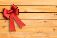 Nastro rosso festivo alla moda di Natale Immagine Stock