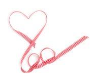 Nastro rosso a forma di del cuore di San Valentino Fotografia Stock Libera da Diritti