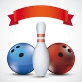 Nastro rosso Pin Balls Red Blue lanciante Immagine Stock