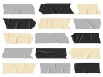 Nastro scozzese Nastri adesivi trasparenti, pezzi appiccicosi Insieme isolato di vettore illustrazione vettoriale