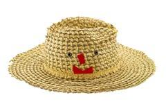 Nastro sorridente rosso sul cappello su fondo bianco Fotografia Stock Libera da Diritti