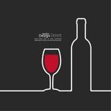 Nastro sotto forma di bottiglia e di vetro di vino con Fotografia Stock