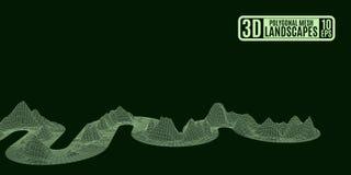 Nastro verde che torce le montagne poligonali illustrazione di stock