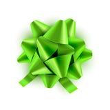 Nastro verde dell'arco isolato Illustrazione di vettore per il biglietto di auguri per il compleanno di celebrazione Decorazione  illustrazione di stock