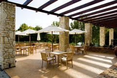 nastrojowa śródziemnomorska restauracji fotografia stock
