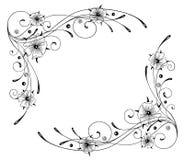 Nasturtium, flowers, frame. Filigree and abstract frame, nasturtium Royalty Free Stock Images