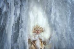 Nastya in a Golden kokoshnik and fur coat.