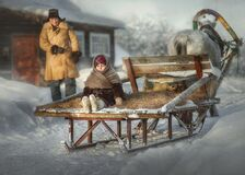 Nastya is sitting on a sleigh.