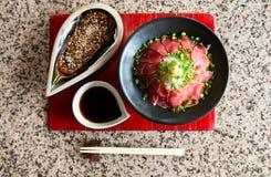 Nasu Dengaku - carne Takaki - japonês grelhou a beringela e a fatia fotografia de stock royalty free
