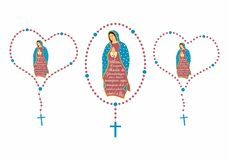 Nasz dama Guadalupe i różaniec ilustracja wektor