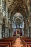 Nasz dama i Angielski męczennik kaplicy kościół wnętrze Ja jest wielkim Gockim Odrodzeniowym kościół budującym w 1885, Cambridges obrazy stock