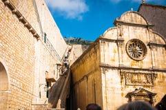 Nasz wybawiciela schody w Dubrovnik i kościół, Chorwacja Zdjęcie Stock