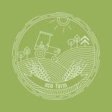 Natürliche Bauernhofvektorlogo-Designschablone Landwirtschaftsemblem Stockfotografie