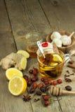 Natürliche Behandlung für Kälten und Grippe Ingwerzitronen-Honigknoblauch und Hagebuttentee gegen Grippe Heißer Tee für Kälten Ha Lizenzfreie Stockfotografie