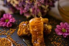 Natürliche Bienenwaben und Blütenstaub auf Tabelle Stockfoto