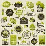 Natürliche Bioproduktaufkleber und -embleme. Satz Vektoren Lizenzfreies Stockfoto