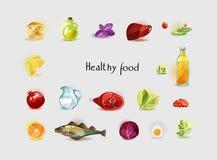 Natürliche Bioprodukte - Gemüse, Früchte, Grüns, Fleisch Ein Satz von 19 Produkten stock abbildung