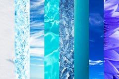 Natürliche blaue Abstufungscollage, blaue Farbe in der Natur Stockbilder