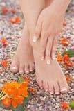 Natürliche französische Pediküre-Maniküre-Fuß-Knöchel-Schmerz-Massage-Natur Stockfotografie
