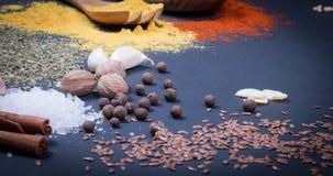 Natürliche Gewürze und Kräuter zerstreuten auf dunklen Hintergrund Natürliche und Biobestandteile für das Kochen lizenzfreie stockfotografie
