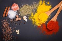 Natürliche Gewürze und Kräuter zerstreuten auf dunklen Hintergrund Natürliche und Biobestandteile für das Kochen lizenzfreie stockfotos