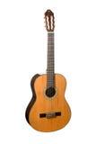 Natürliche hölzerne klassische Akustikgitarre lokalisiert auf einem weißen Hintergrund Lizenzfreies Stockfoto