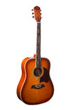 Natürliche hölzerne klassische Akustikgitarre lokalisiert auf einem weißen Hintergrund Lizenzfreies Stockbild