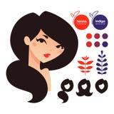 Natürliche Haarfärbemittelikonen Stockfoto