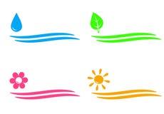 Natürliche Ikonen mit Wasser fallen, sonnen sich, Blume und Weide Lizenzfreie Stockbilder