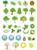 Natürliche Ikonen und Auslegungelemente stockbild