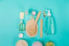 Natürliche Inlandsprodukte für skincare Hafer, Öl, Seife, Gesichtsreiniger stockfotografie