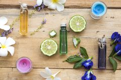 Natürliche Kräuteröle vom Blumengerucharoma stockfotografie