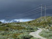 Natürliche Landschaft und elektrisch lizenzfreies stockfoto