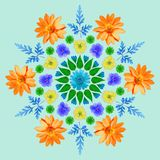 Natürliche Mandala von getrockneten gepressten Blumen, von Blumenblättern und von Blättern Stockbilder